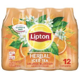 (12 Bottles) Lipton Herbal Iced Tea, Orange Blossom, 16.9 fl oz