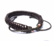 Womens Bracelet Bangle Adjustable Unisex Brown Ribbed Wrap Rope Leather Mens