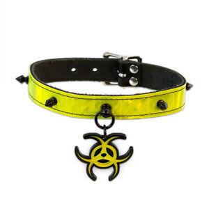DSF Cyberpunk Collar - Yellow Biohazard Spike Cybergoth Cyber Punk [YE BIO]5061