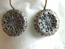 Cathedral Window Tanzanite Earrings PMC Silver Shahasp Valentine 14k gold Artist