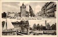 BRANDENBURG Havel 1963 DDR Mehrbild-AK ua. Partie a.d. Molge, Salzhof m. Schiff