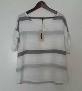 Made In Italy Textured Cheesecloth Cotton Top Sz XL UK14 16 White & Grey Striped