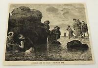 1884 magazine engraving ~ CHILD-LIFE IN JAPAN children playing in water, FISHING
