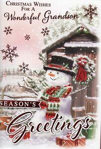 Grandson Christmas Card Choice Of Cute Designs Size 20 x 14cm