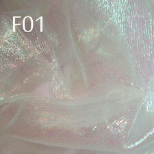 F01 PER YARD White w/Lime reflex Shiny Iridescent Crinkle Sheer Organza Fabric
