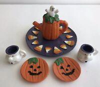 Vintage 1997 Minature Polystone Pumpkin Halloween Tea Set Doll House