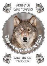 ND3 Wolf personalised round birthday cake topper icing