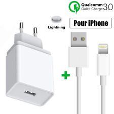 Chargeur Rapide Prise Secteur+ Câble USB pour iPhone SE 6/7/8/X/XR/XS Max/11 12