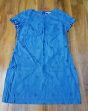 BODEN Verity Dress Denim Blue Embroidered Eyelet UK size 20R WH782 BRAND NEW