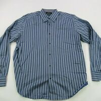 Bugatchi Uomo Mens Button Up Casual Shirt Blue Stripes Long Sleeve Large
