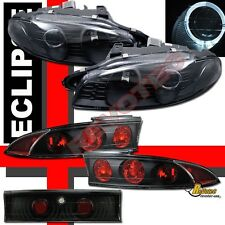 97 98 99 Mitsubishi Eclipse Halo Projector Headlights G2 & Tail Lights Black
