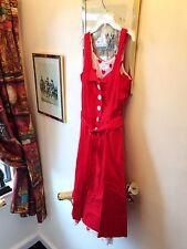 New Jasmine Guinness Halter Neck Red Cotton Heart Print Vintage Look Dress,12