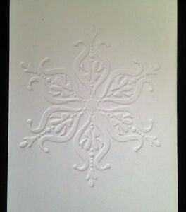 5 Blank A6 White Embossed Cards & Envelopes - Fancy Snow Flake