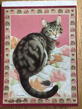 Vintage Cat Mouse Quilt Stationery Letter Writing Ruled Paper Tablet Morgan