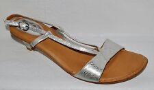 BOLO SZ 9 M 40.5 DISTRESSED SILVER LEATHER SLINGBACK SANDALS