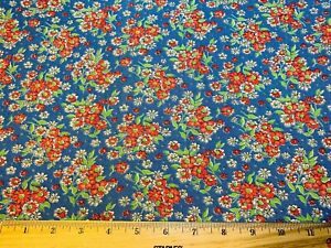 Vintage Cotton Feedsack Fabric SWEET Blue Red Green Floral EXC