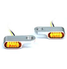 IRON OPTICS mini LED Blinker Halter für Lenker Armaturen Custom Bikes uni Silber