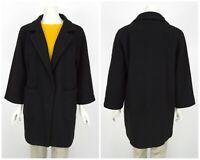 Womens Ganni Inglewood Coat Jacket Black Wool Blend 3/4 Sleeve Size XS