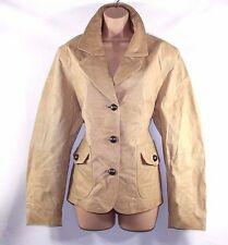 VTG Camel 100% Real Leather H&M Hip Length Ladies Women's Coat Jacket Size UK 18