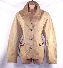VTG Camel 100% Real Leather H&M Hip Length Ladies Women's Coat Jacket Size UK 18