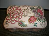 VANITY JEWELRY TRINKET BOX PINK FLORAL LIDDED  8''