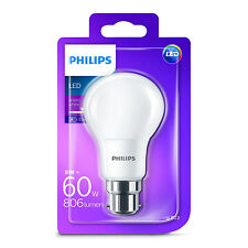 1x Philips LED Frosted B22 60w Warm White Bayonet Cap Light Bulb Lamp 806 Lm