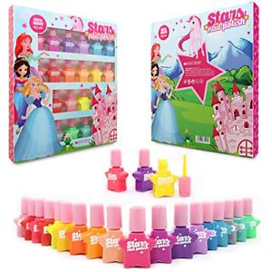 Kids Nail Polish Set Water Based Peel Off Princess Girls 18 Bottle Colours Kids