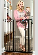 Dog Gate Indoor Tall Pet Fence Baby Barrier Adjustable Walk Thru Swinging Door