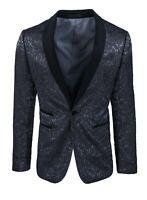Giacca uomo Sartoriale nero raso floreale damascata blazer elegante cerimonia