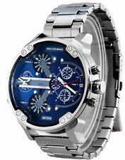 Fashion Men Big Dial Quartz Watches Full Steel Military Calendar Wrist Watch
