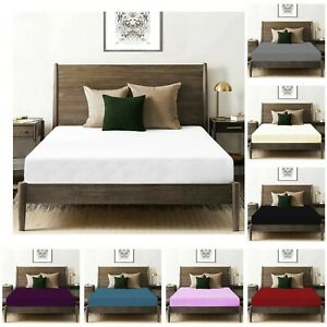 WHITE FITTED SHEET 30CM DEEP 100% EGYPTIAN COTTON SINGLE DOUBLE SUPER KING SIZE