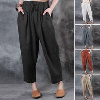 UK Womens Elastic Waist Casual Loose Harem Trousers Cotton Baggy Pants Plus Size