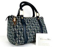 100% Auth CHRISTIAN DIOR Trotter Canvas Leather Doctor Bag Navy Italy W/ Padlock