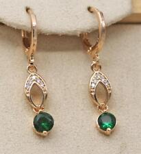 18K Gold Filled - Tiger Eye Round Emerald Topaz Hollow Gems Women Party Earrings