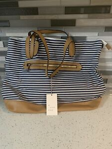 New With Tags A New Day Blue Stripe Canvas & Faux Leather Carry All Bag