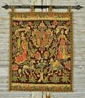 Superb Vintage French Printed Linen Wall Hanging & Pole Medieval Tapestry Design