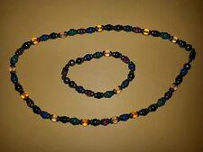 vintage 925 sterling silver beaded necklace & bracelet multi color stones Mexico