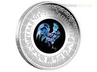 1 $ Dollar Opal Lunar Rooster Hahn Australien 2017 PP Proof 1 Unze oz Silber