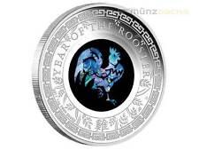 1 $ Dollaro Opal Lunar Pollo Australia 2017 PP Proof 1 oz Once d'argento