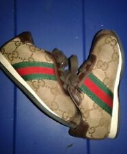 Gucci leather shoes toddler size 22 euro size 6C brown stiped G print
