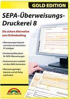 SEPA Überweisungs Druckerei 8 Gold - Download Version sofort VersandWin10,8,7