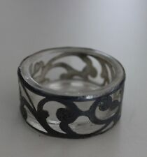 OPEN GLASS ESTATE SALT DISH WITH FLORAL & SWIRL STERLING OVERLAY--VERY NICE NR!