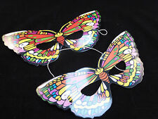 Cheap / Bargain Kids Party Colourful Elasticated Butterfly Card Masks x Set of 8