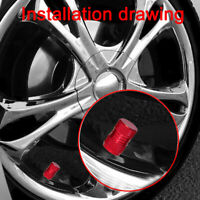 4pcs Universal Red Metal Car Wheel Tyre Valve Alloy Dust Cap Cover Accessories