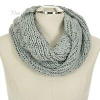 LAUREN CONRAD Women's GREY & SILVER METALLIC Winter INFINITY SCARF Crochet Loop