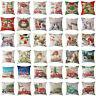 Christmas DIY Decor Linen Cushion Cover Pillowcase Sofa Waist Throw Pillow Case