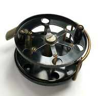 """EXCELLENT VINTAGE 3.5"""" ALLCOCK & CO BLACK KNIGHT ALLOY & BRASS CENTRE-PIN REEL"""