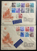 Two 1953 Leipzig East DDR Germany First Day Covers FDC Comp Set Sc#155-171