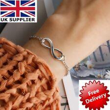 Lucky Women Silver/Golden Jewelry Bracelet Hand Chain Infinity Shape Figure of 8