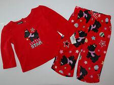 Nachtwäsche~NEU~USA~74-80~Joe Boxer~2 tlg Schlafanzug~Fleece~Pyjama~Hund~rot~